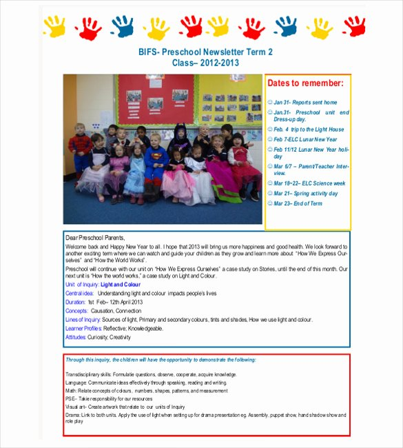 Preschool Newsletters for Parents Beautiful 7 Preschool Newsletter Templates Pdf Doc