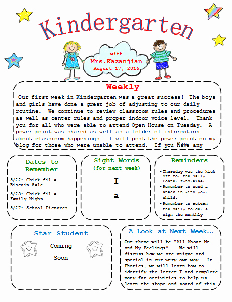 Preschool Newsletters for Parents Best Of Kindergarten Newsletter Template 3 Free Newsletters