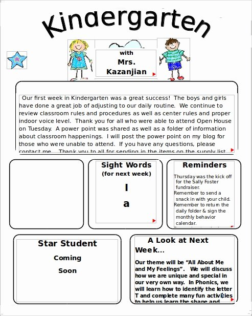 Preschool Newsletters for Parents Elegant 10 Sample Kindergarten Newsletter Templates In Sample Example format Pdf