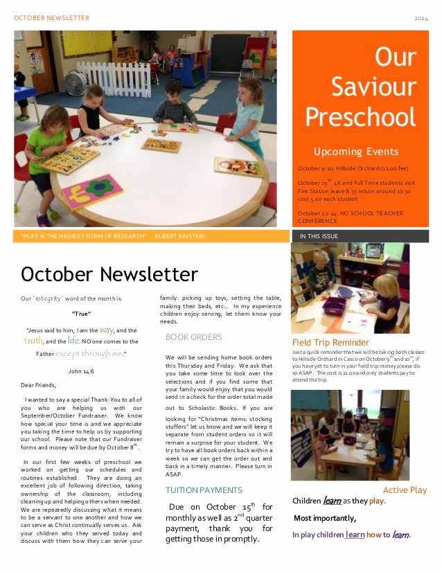 preschool news and parent tidbits for october 2014