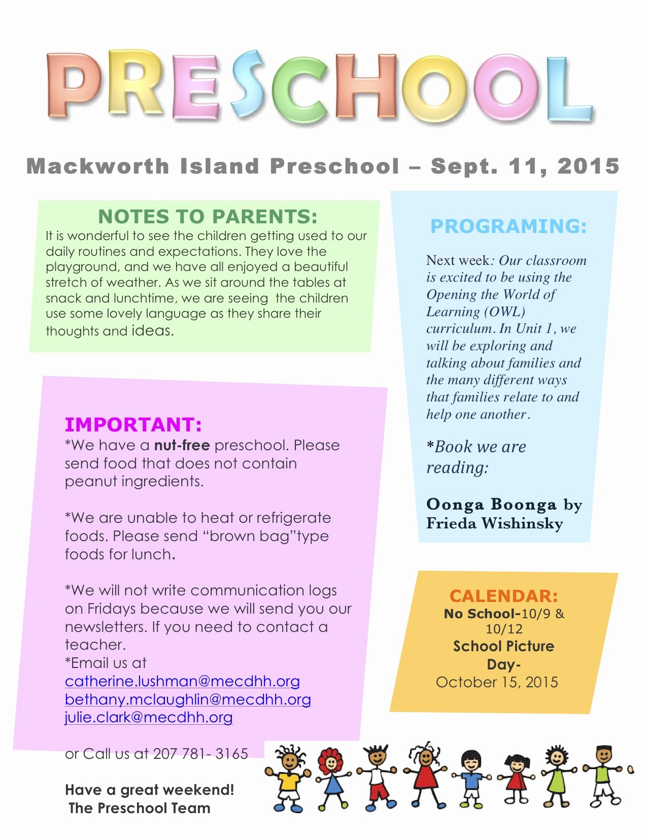 Preschool Newsletters for Parents Lovely September 11 Newsletter – Preschool Blog