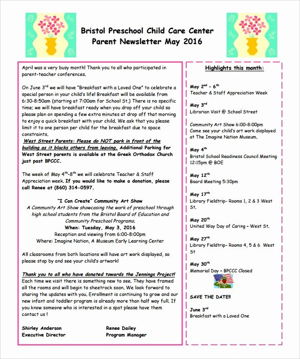 Preschool Newsletters for Parents New 8 Best Preschool Newsletter Templates In Word