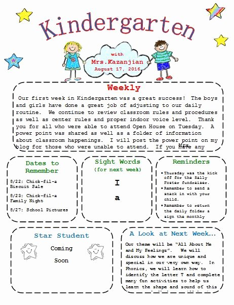 Preschool Newsletters for Parents New Printable Kindergarten Newsletter Template Templates Pinterest