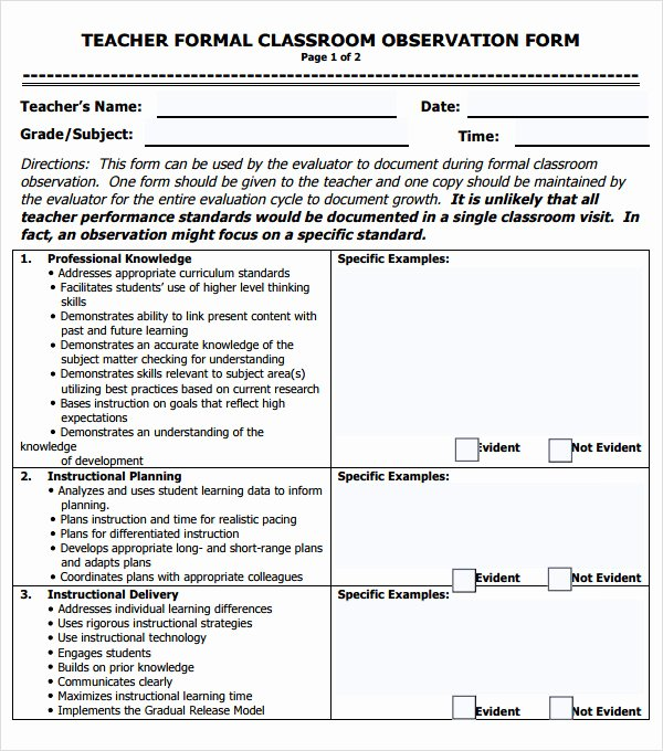Preschool Teacher Evaluation form Best Of Free 5 Sample Teacher Evaluation forms In Pdf