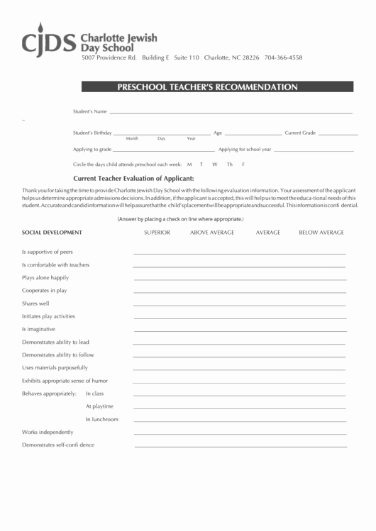 Preschool Teacher Evaluation form Best Of top Preschool Teacher Evaluation form Templates Free to
