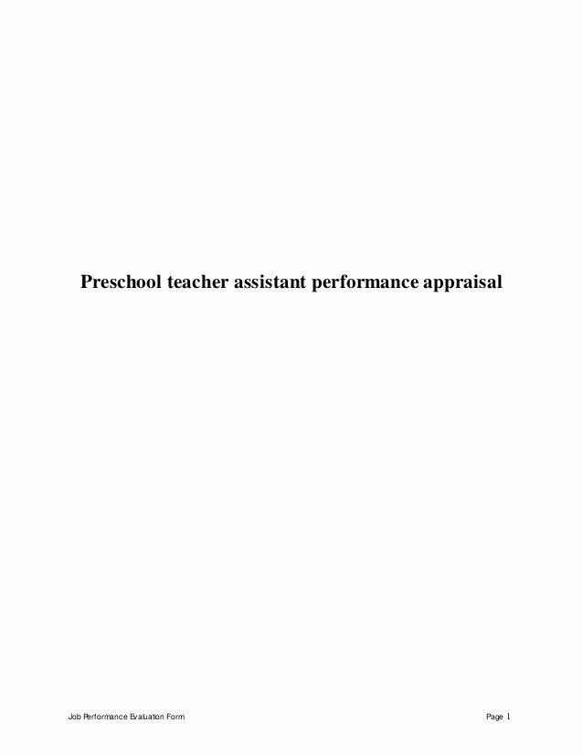 Preschool Teacher Evaluation form Unique Preschool Teacher assistant Perfomance Appraisal 2