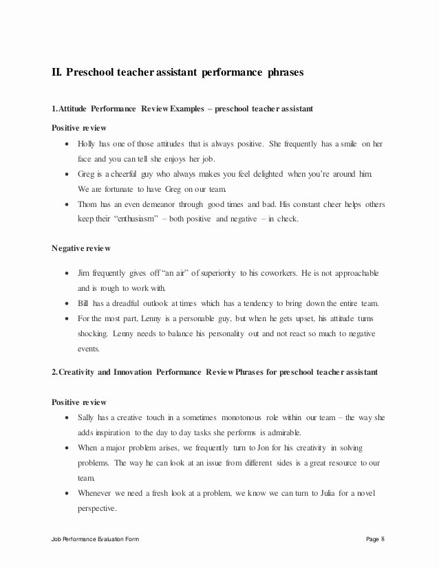 Preschool Teacher Evaluation forms Beautiful Preschool Teacher assistant Perfomance Appraisal 2