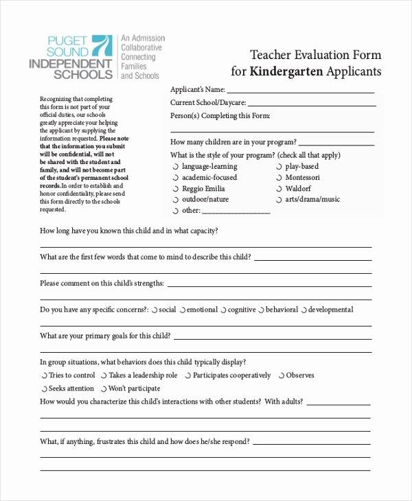 Preschool Teachers Evaluation forms Best Of Free 8 Sample Teacher Appraisal forms