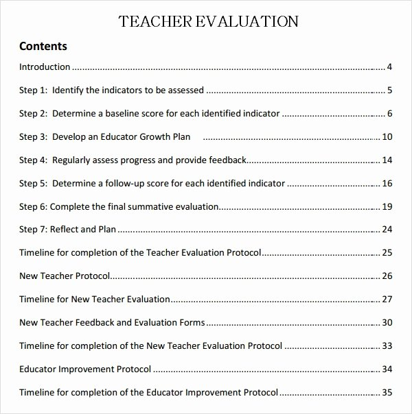 Preschool Teachers Evaluation forms Fresh Teacher Evaluation 8 Free Download for Word Pdf