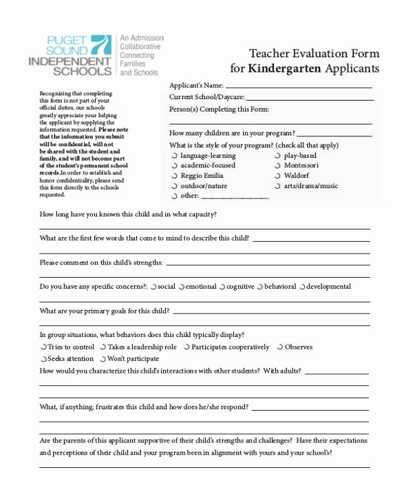 Preschool Teachers Evaluation forms New 21 Sample Self Evaluation forms