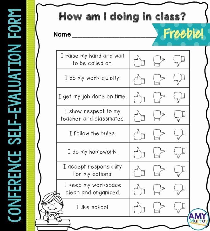 Preschool Teachers Evaluation forms Unique Student Self Evaluation form for Parent Teacher Conferences Freebie Ssw