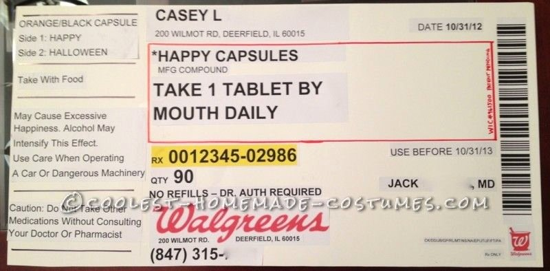 Prescription Label Template Download Inspirational original Homemade Prescription Bottle Costume Pharmacy In 2019