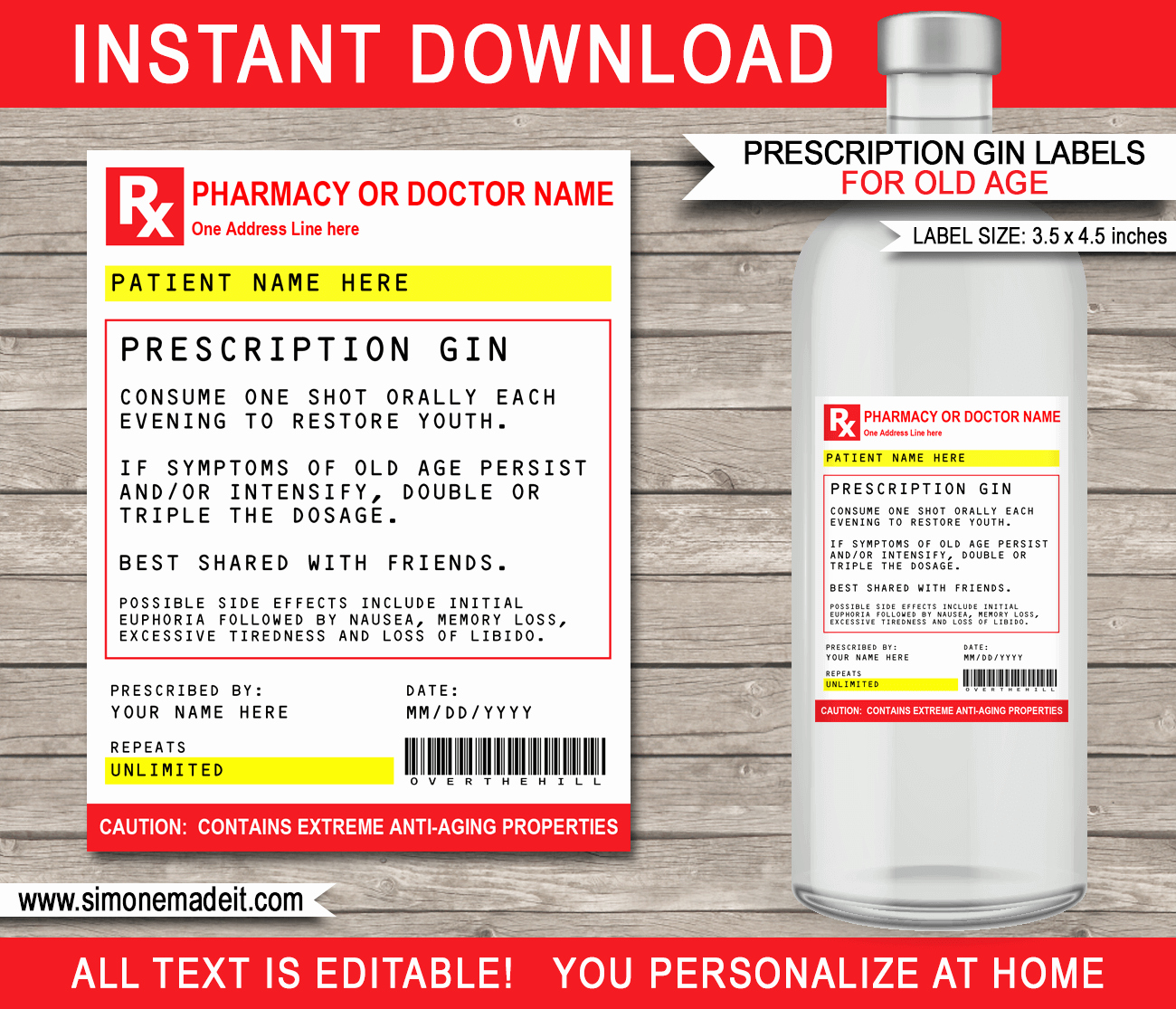Prescription Label Template Download New Old Age Prescription Gin Labels