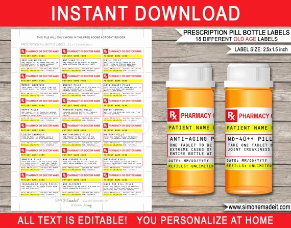 Prescription Label Template Download Unique Prescription Pill Bottle Old Age Labels Printable Rx Candy Pills Birthday Party Favors or Gift