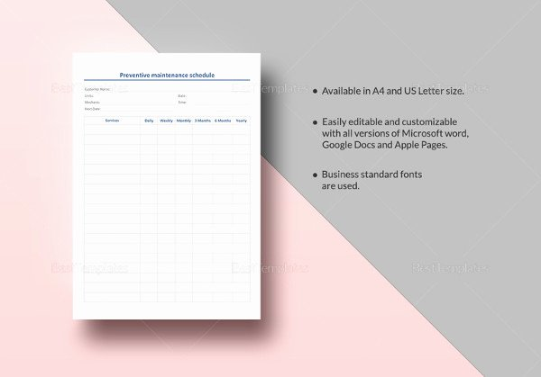 Preventive Maintenance Excel Template Beautiful 39 Preventive Maintenance Schedule Templates Word Excel Pdf