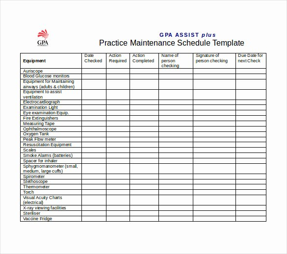 Preventive Maintenance Excel Template Beautiful Preventive Maintenance Schedule Template Excel