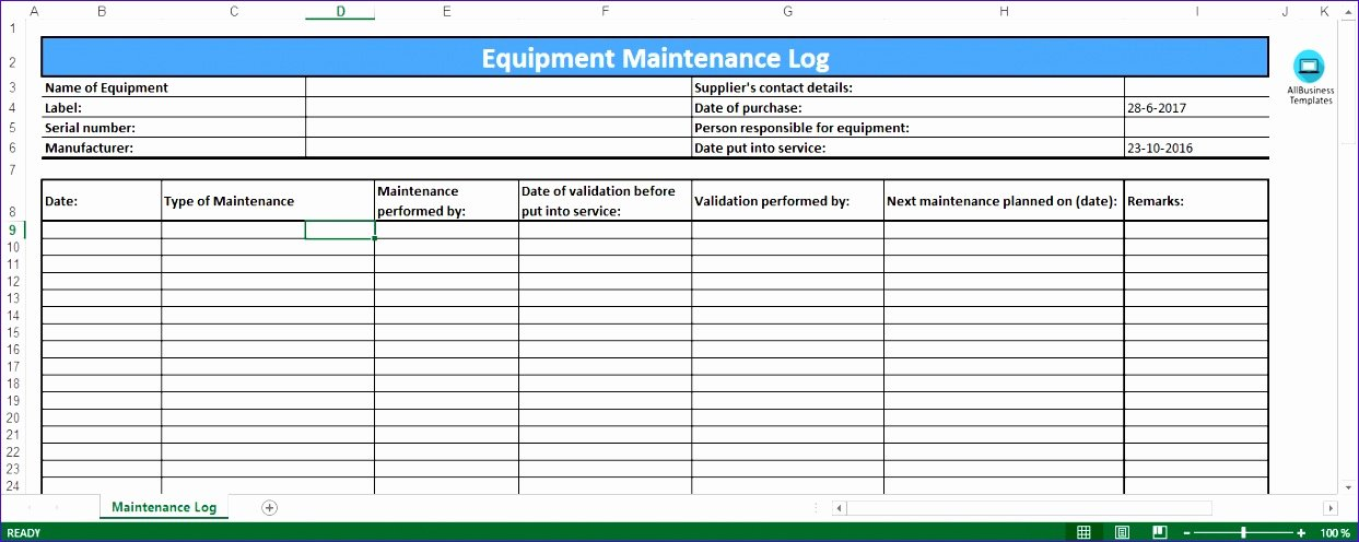 Preventive Maintenance Excel Template Inspirational 6 Preventive Maintenance Template Excel Exceltemplates Exceltemplates