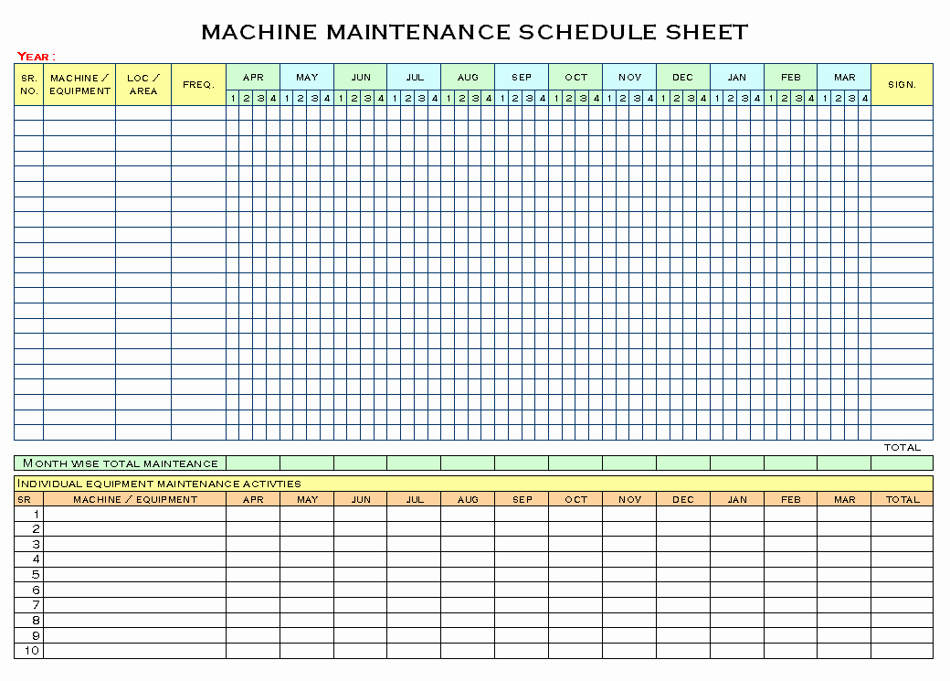 Preventive Maintenance Excel Template Luxury Machinery Maintenance Schedule Template Excel