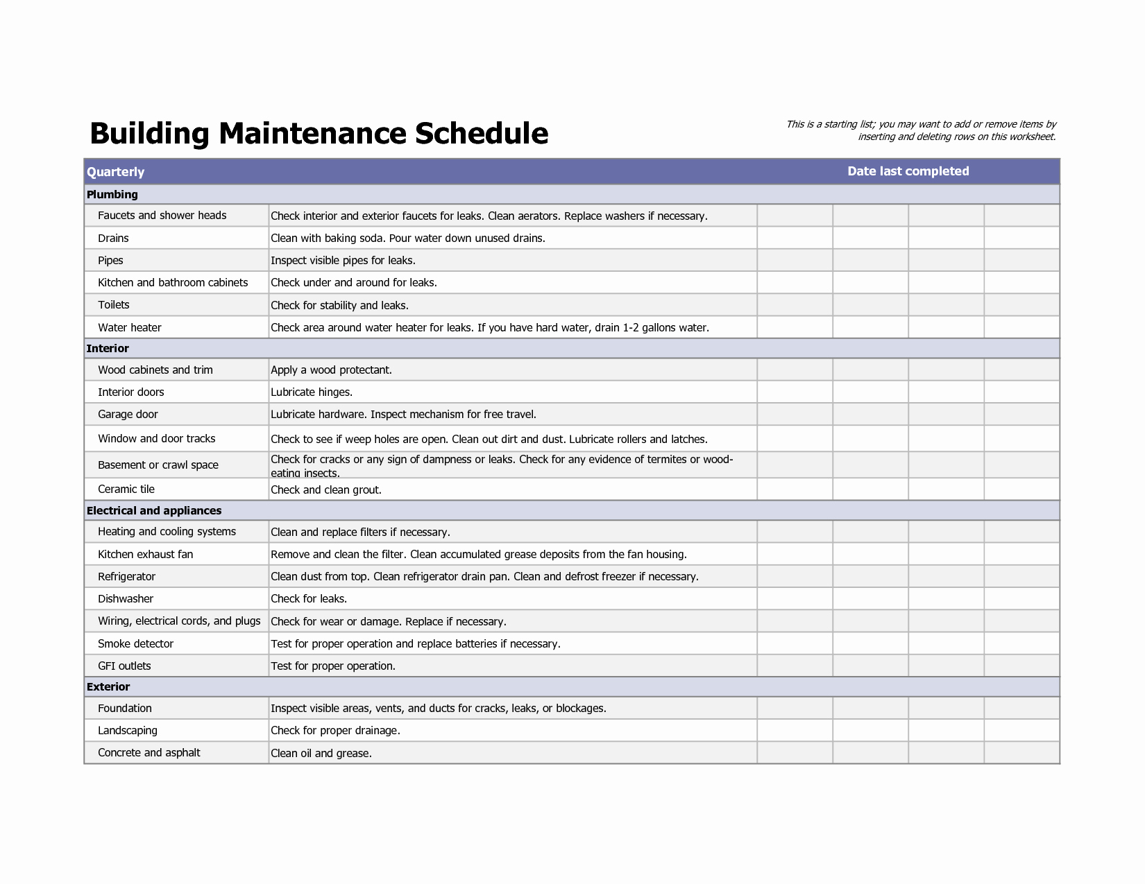 Preventive Maintenance Excel Template New Building Maintenance Schedule Excel Template Home Maintenance