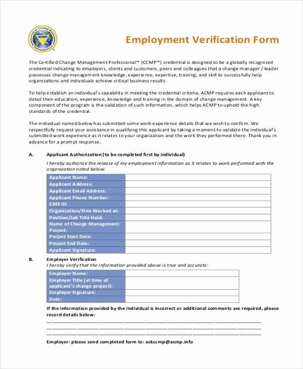 Previous Employment Verification form Beautiful Free 8 Employment Verification Sample forms In Example Sample format