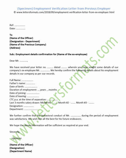 Previous Employment Verification form Elegant Employee Verification Letter Sample Cover Employment format In Word for Canada Visa India