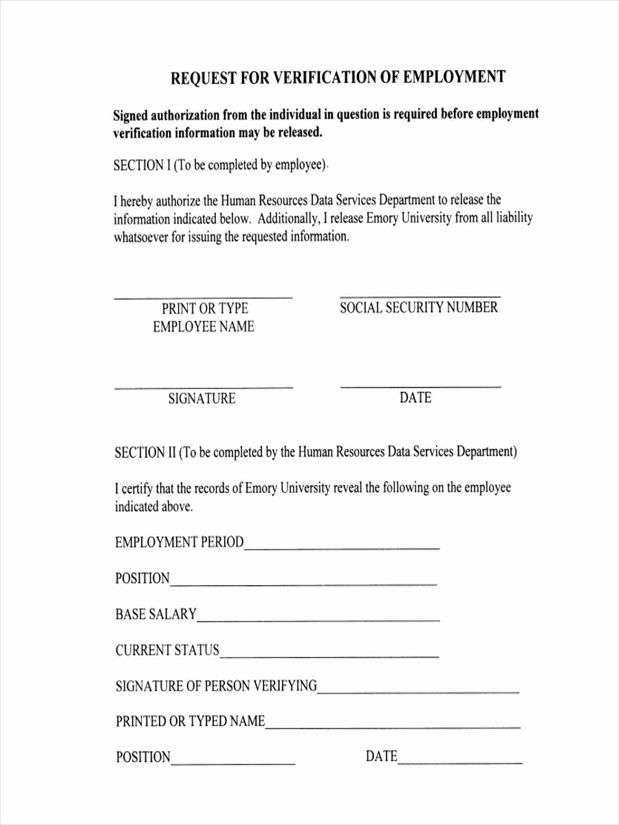 Previous Employment Verification form Lovely 7 Employment Verification Request form Sample Free Sample Example format Download