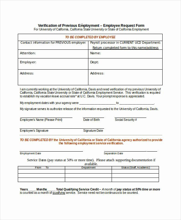 Previous Employment Verification form New Free 34 Verification forms In Word