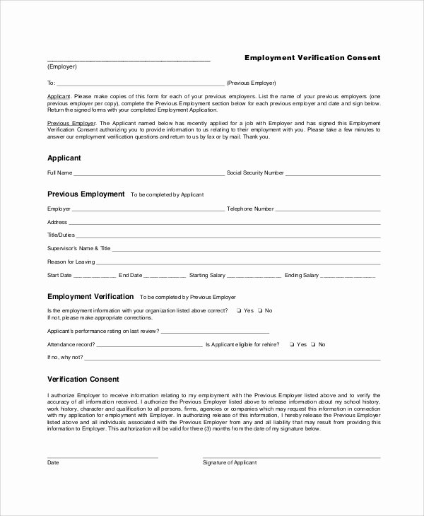 Previous Employment Verification form Unique Previous Employment Verification forms Here S What Industry