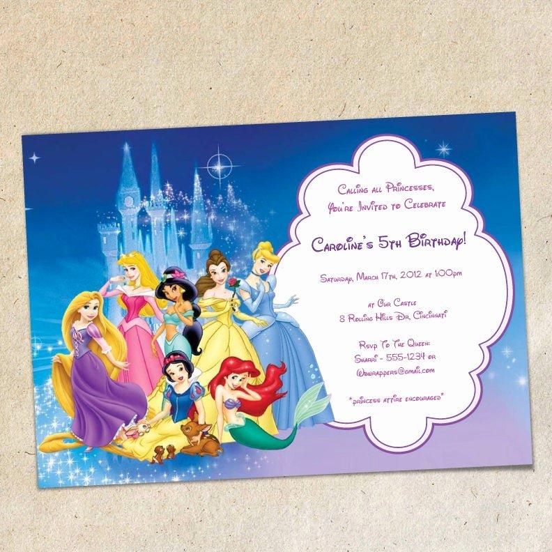 Princess Party Invitation Template Elegant Disney Princesses Party Invitation Template Instant