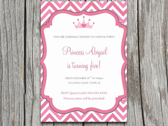 Princess Party Invitation Template Lovely Instant Download Royal Princess Party Invite Microsoft Word Template Crown Heart Pink Grey