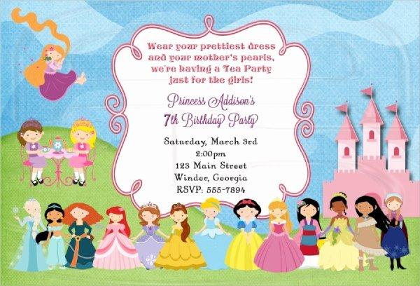 Princess Party Invitation Template New 22 Sample Tea Party Invitations Word Psd Ai