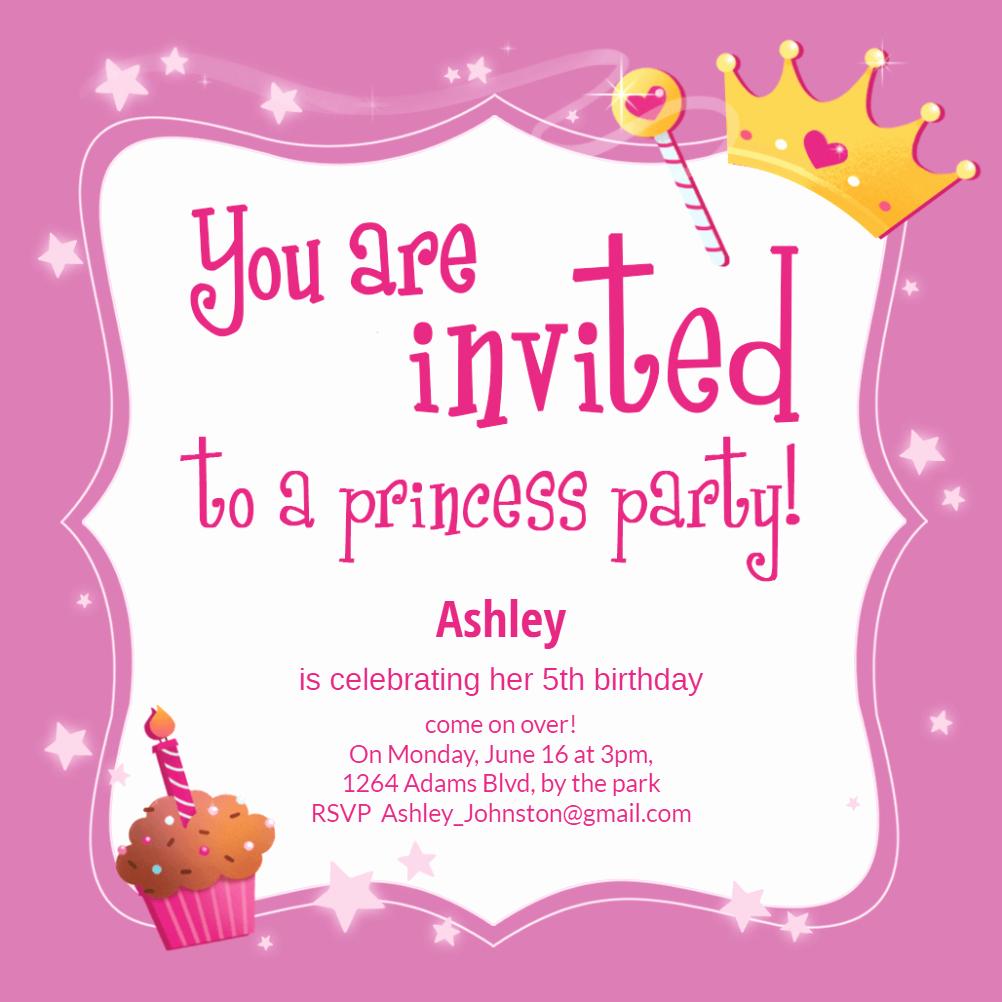 Princess Party Invitation Template Unique Princess Magic Birthday Invitation Template Free