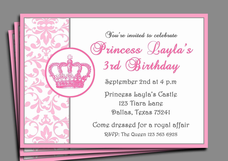 Princess Party Invitation Template Unique Princess Party Invitation Printable or Printed with Free