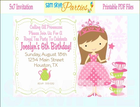 Princess Tea Party Invitations Awesome Princess Birthday Tea Party Invitation Tea by Samskyeparties