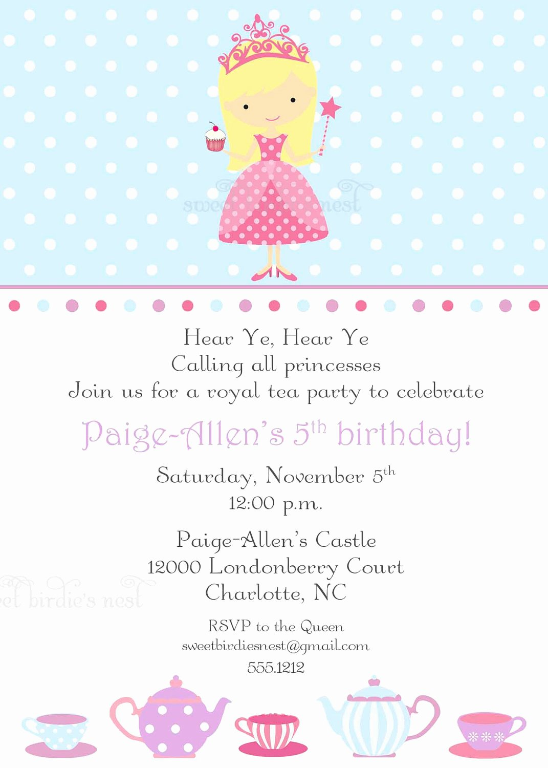 Princess Tea Party Invitations Beautiful Items Similar to Princess Tea Party Invitation On Etsy
