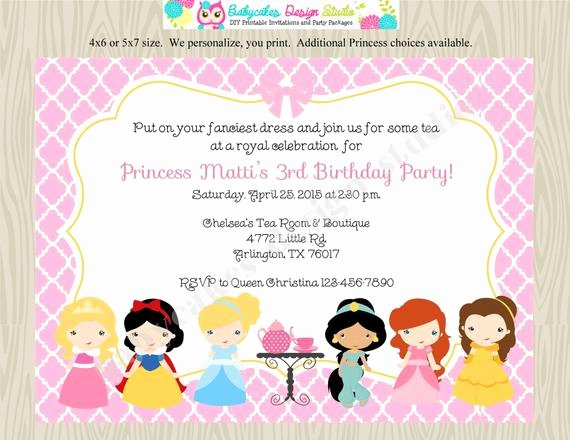 Princess Tea Party Invitations Beautiful Princess Tea Party Invitation Invite Disney by Jcbabycakes