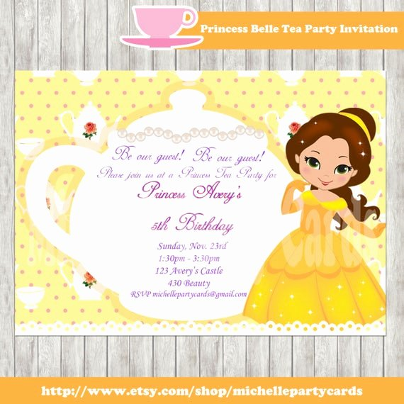 Princess Tea Party Invitations Best Of Princess Belle Tea Party Princess Ariel Tea Party Birthday