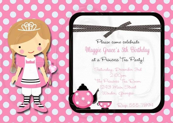 Princess Tea Party Invitations Elegant Tea Party Invitation Princess Tea Party Digital File