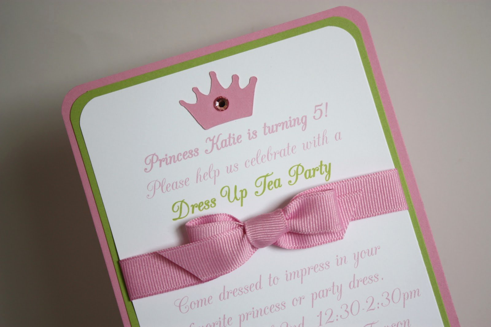 Princess Tea Party Invitations Inspirational 5m Creations Pink and Green Princess Crown Party Line