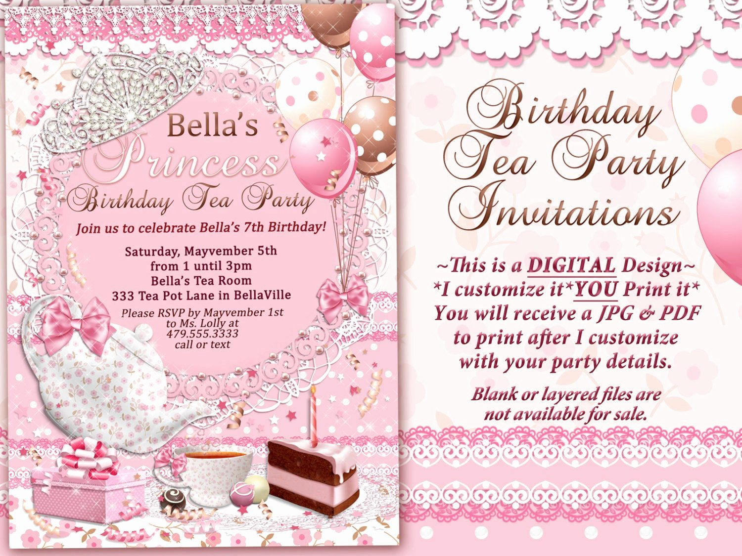 Princess Tea Party Invitations Inspirational Tea Party Invitation Princess Tea Party Birthday Tea Party