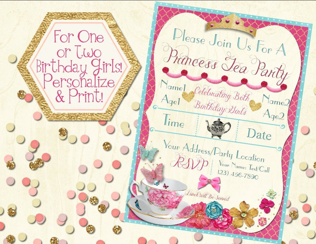 Princess Tea Party Invitations Lovely Princess Tea Party Invitation Printable Invitation Girls Tea