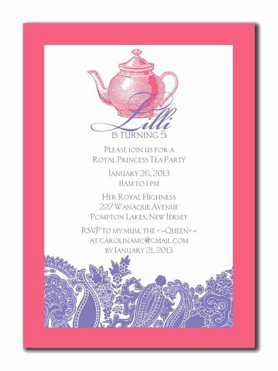 Princess Tea Party Invitations Luxury Princess Tea Party Birthday Invitation 5 X 7 Diy by