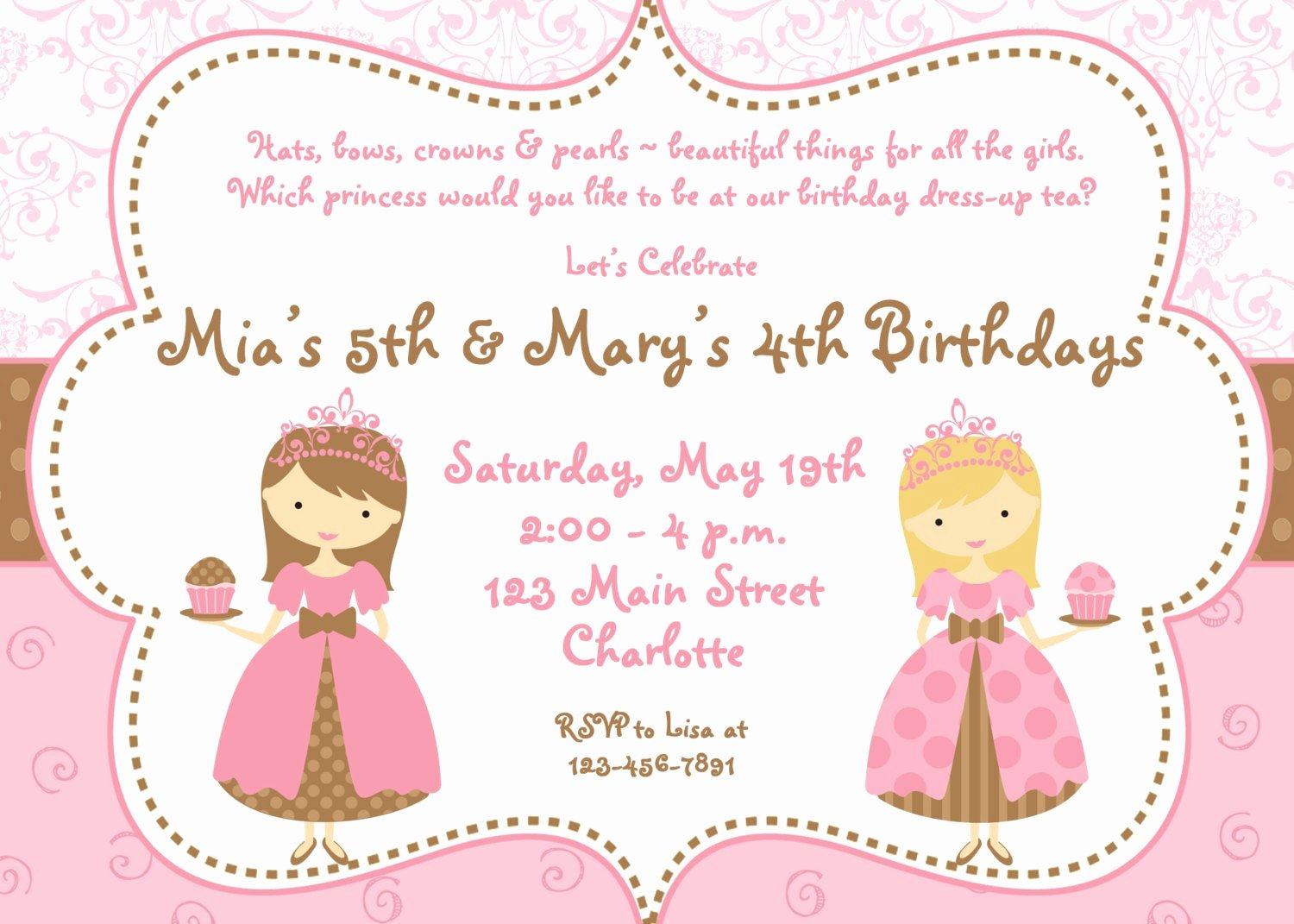 Princess Tea Party Invitations New Tea Party Birthday Invitation Cupcake Party Princess Tea