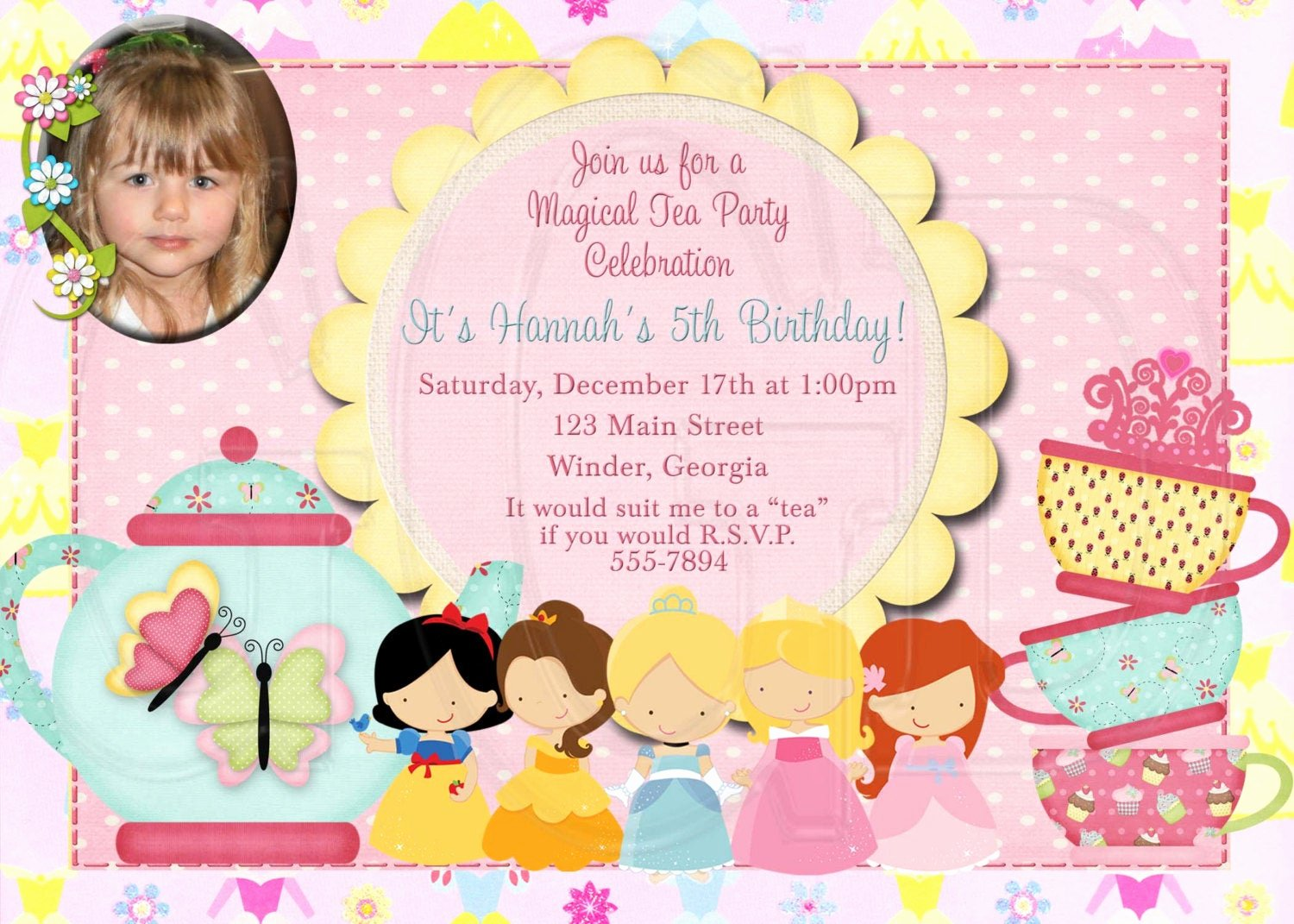 Princess Tea Party Invitations New Tea Party Invitation Birthday Princess Tea Digital File