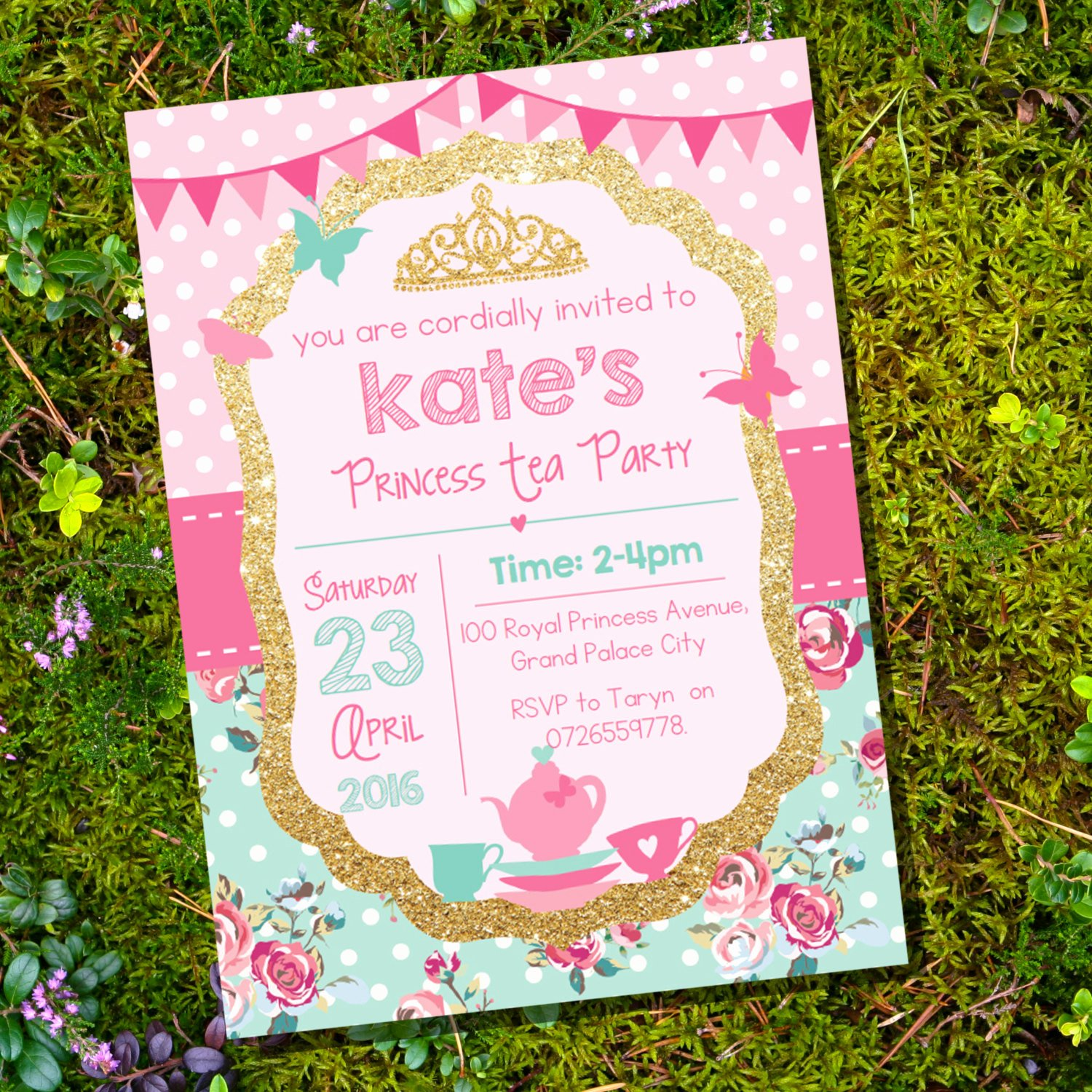 Princess Tea Party Invitations Unique Princess Tea Party Invitation Pink and Gold Glitter Shabby