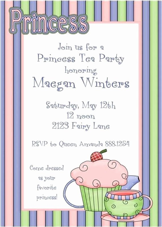 Princess Tea Party Invitations Unique Princess Tea Party Invitations