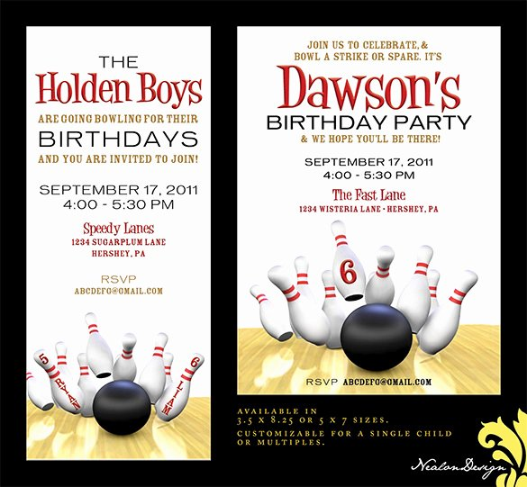 Printable Bowling Party Invitations Beautiful 7 Free Sample Bowling Game Invitation Templates Printable Samples