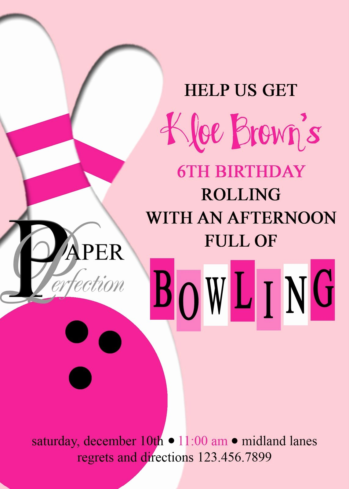 Printable Bowling Party Invitations Beautiful Paper Perfection Pink Bowling Party Invite and Printables