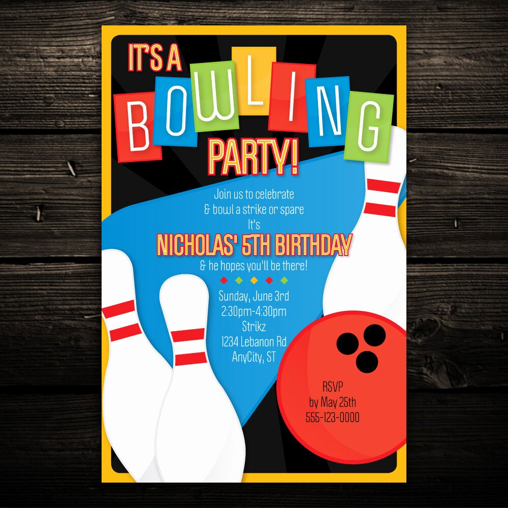 Printable Bowling Party Invitations Beautiful Retro Bowling Printable Birthday Party Invitations Kids Childrens