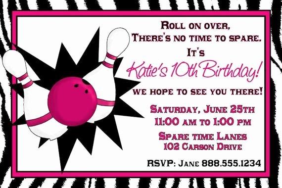 Printable Bowling Party Invitations Elegant Bowling Birthday Party Invitation Girl Digital You Print